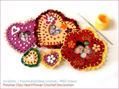 Polymer clay crocheted heart/flower decor - Free video tutorial for Valentine! (Iris Mishly) Tags: iris ceramica art love cane arcoiris pen project israel photo necklace cookie hand handmade crafts crochet machine jewelry valentine pasta fimo clay gift canes frame handcrafted sheet how decor magnet charms rolling tutorial keychains classes polymer millefiori condition cutters embelishment  arcila ceramicaplastica  irismishly  polimerica      arcillapolymerica mishly   polypediaonline