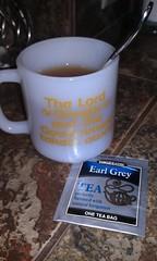 Earl Grey tea (cantstopvintage) Tags: hot tea bigelow earl grey vintage mug glasbake