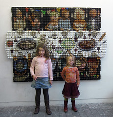 'Village party' (and my daughters) (Enno de Kroon) Tags: portrait art paper easter children topv333 recycled contemporary recycledart recycle groupportrait cubist eggcarton cubism cubisme eggart rcupration papierkunst trashreuse eggboxart