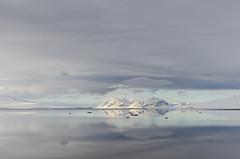 Calm Arctic Fjord (JSS-N) Tags: snow reflection norway clouds landscape calm svalbard arctic fjord spitsbergen longyearbyen