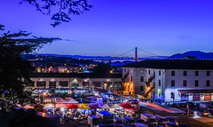 off the grid blue hour (pbo31) Tags: sanfrancisco california city bridge urban color night marina spring nikon purple traffic over may goldengatebridge bayarea fortmason bluehour friday roadway 2016 lightstream offthegrid boury pbo31 d810 foodtrucks