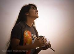 Teenage Bangladeshi Girl Flying Kite (bdspn) Tags: people woman kite thread girl vintage asian happy fly lough play outdoor indian joyful spindle teenage bangladeshi