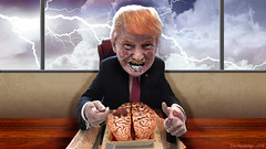 Big Orange Zombie Eating Brains (DonkeyHotey) Tags: face photomanipulation photoshop photo election zombie political politics cartoon manipulation brains caricature politician donaldtrump republican campaign primary gop karikatur rnc caricatura commentary generalelection 2016 karikatuur politicalcommentary donkeyhotey