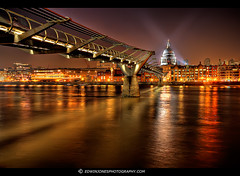 Millennium Bridge London at Night (Edwinjones) Tags: street city uk travel bridge england urban color colour london heritage texture tourism thames architecture dark photography lights photo european cityscape cathedral photos unitedkingdom britain sony centre capital cities cityscapes bridges sigma wideangle pic landmark center structure millennium architectural nighttime londres milleniumbridge nights metropolis dslr riverthames metropolitan hdr highdynamicrange streaming worldheritage cityoflondon municipality edifice photomatix nightdarkness tonemapped tonemapping stpauls dslra700