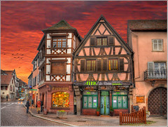 Le Bistro (Jean-Michel Priaux) Tags: sunset france architecture photoshop painting restaurant town magasin commerce village place bistro alsace hdr col