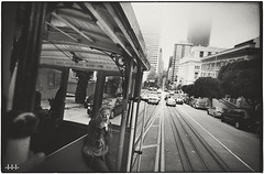 """Half-block notice before stop you want"" (steven -l-l-l- monteau) Tags: sf sanfrancisco road trip blackandwhite bw usa film fog analog 35mm downtown noiretblanc kodak trix nb 400 m42 cablecar flektogon 20mm expired californiastreet tramway ricoh brouillard f4 tls brume argentique funiculaire outofdate carlzeissjena 15years singlex 15ans expire prime twoandahalfweeksonthewestcoastoftheunitedstatesofamerica tiensdailleursestcequontraduitpartramwayouparfuniculairenonparcequelefonctionnementcestunpeudes2enmmetemps"