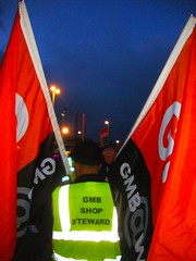 Pickets at Dawn (brightondj) Tags: dawn brighton protest flags bowlerhat strike unions gmb n30 picket tradeunions brightongmb