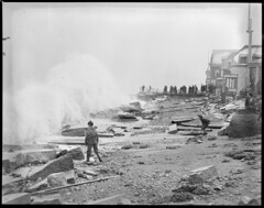 Winthrop Beach ruins by surf, people (Boston Public Library) Tags: weather storms floods lesliejones
