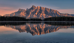 Pink Morning in Banff (Jeff Clow) Tags: bravo albertacanada banffnationalpark twojacklake