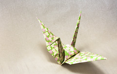 Origami crane, elevated view, close-up (flaminghead Park) Tags: threedimensional signsandsymbols decorative skill intricacy vertical studioshot closeup highangleview shape paper japaneseculture cutout artandcraft colorimage folded origami nopeople photography whitebackground singleobject papercrane japan tokyo