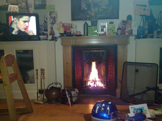 Roaring fire and Justin Beiber on TV. what more could you want?