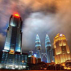 Kuala Lumpur || .N.I.G.H.T. (.S.Y.I.B.L.I.) Tags: longexposure blue light building colors yellow night clouds landscape asian asia cityscape fast malaysia kualalumpur noise hdr vertorama syibli