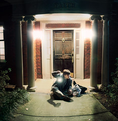 waiting in the dead of night. (Casey David) Tags: door light boy shadow red brown house man green window grass night dark gold moss waiting shadows d faith bricks columns sidewalk lantern 365 pillars runningaway peering deadofnight project365 365day daysproject sarahannloreth caseydavid