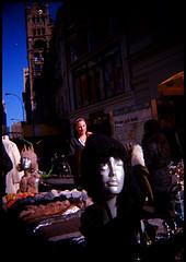 a mannequin (brownbeatle) Tags: street city sky newyork mannequin pov manhattan gray behind unionsquare blackbirdfly kodakektar100