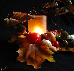 Shine a light (Jay Hurray) Tags: light leaves composition tomato candle tomatoes egg warmth chestnut candlelight lightglass