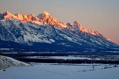 Grand Tetons at Dawn (Black Rock Photo) Tags: winter mountain snow mountains sunrise dawn glow view grand jackson wyoming grandtetons tetons jacksonhole springcreekranch
