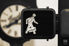 Time To Walk Like A Rebel (Ian Sane) Tags: street clock oregon portland ian rebel sticker downtown traffic time walk like images to signal sane a