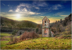 Single (Jean-Michel Priaux) Tags: sunset mountain nature abbey architecture photoshop landscape nikon alone niceshot chapel medieval belltower steeple single lonely paysage eglise chapelle hdr vosges abbaye clocher saintnicolas moyenge sainteodile d90 ottrott saintnabor priaux niedermunster mygearandme
