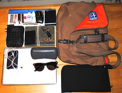 Items I carry in my messenger bag (Lee Cannon) Tags: camera sunglasses notebook keys id journal identification pens jcrew messengerbag raybans pocketknife jumpdrive filefolders applemacbook portableharddrive ipodtouch itemsicarry