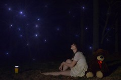 Neverland (Cath O'Connolly) Tags: bear old light sky girl up night photoshop dark stars leaving fire big pretty child dress teddy good photoshopped flash balls your flies hood growing behind neverland making decisions childlike fashioned