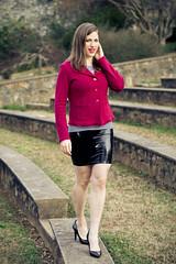 Winter Evening (Dan | Hacker | Photography) Tags: fashion model shiny photoshoot dusk raleigh skirt heels latex blazer rosegarden outdoortheater