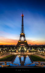 7:45 Paris (Beboy_photographies) Tags: paris france sunrise de soleil tour eiffel toureiffel crpuscule fontaine hdr lever aurore bassin trocadro