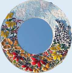 Mirror commission xmas 2011 (katygalbraith) Tags: flower glass ceramic mirror recycled mosaic perthshire gift present plates commission crieff upcycled millifiori