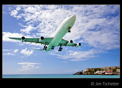 Incoming!!!! (IC360) Tags: landing sunsetbeach caribbean stmaarten a340 airfrance mahobeach airportbeach princessjulianaairport ic360images jimtschetter