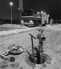 Fire hydrant (Antti Tassberg) Tags: auto street winter blackandwhite bw monochrome night truck suomi finland 50mm helsinki europe dof bokeh eu firetruck firehydrant fireman scandinavia ruoholahti talvi firedepartment fireplug vfd firedrill vpk y sisu vfb paloauto paloposti palokunta palomies hs214 ginordicjan12 lauttasaarenvpk paloharjoitus