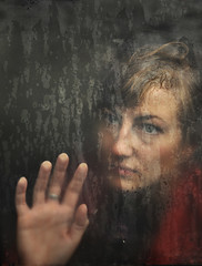 rainy soul... (martikson) Tags: autumn light portrait window glass rain eva solitude darkness heart fingers palm soul pane emptiness longing casidy martikson eibleann