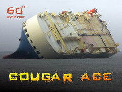 Cougar Ace listing at 60º, Aleutian Islands Postcard (HTMimages) Tags: sea car ship pacific accident postcard ace shipwreck damaged cougar carrier wrecked tipped listing