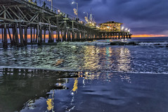 Santa Monica Pier Sunset (Daniel Schwabe) Tags: ocean sunset reflection water reflections pier santamonica hdr