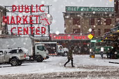 Seattle's Pike Place Market in a Rare Snowstorm (Lee Rentz) Tags: seattle city winter snow cold weather sign retail washington store downtown neon northwest farmersmarket market snowy bad business pacificnorthwest northamerica chilly snowing produce pikeplacemarket washingtonstate snowfall frigid groceries wintery wintry publicmarketcenter themarket firstandpike thesoulofseattle
