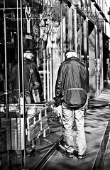Survey (www.karlocamero.com) Tags: street people blackandwhite reflection monochrome japan mirror streetphotography 85mm yokohama 2012 shinyokohama karlocamero