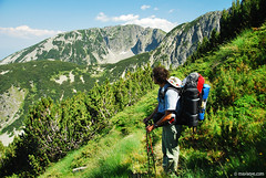 Summer trek in Pirin (.:: Maya ::.) Tags: summer mountain man nature trekking rocks peak human  pinus  pirin  mugo           mayaeye mayakarkalicheva