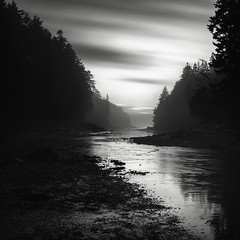 Seal Cove (Nate Parker Photography) Tags: winter blackandwhite bw seascape fog clouds river landscape harbor cove maine streaks innerharbor haveaniceday sealcove