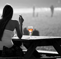 The Glass of Ros (Cigarettes & Alcohol) (Loc BROHARD) Tags: street woman beach glass girl photography women wine cigarette candid streetphotography www alcohol cigarettesalcohol