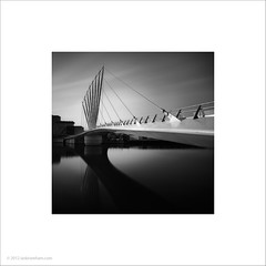Media City Footbridge (Ian Bramham) Tags: bridge bw white black square manchester photo footbridge bridges format salford shipcanal wilkinsoneyre mediacity salfordquaysbridge ianbramham mediacityfootbridge