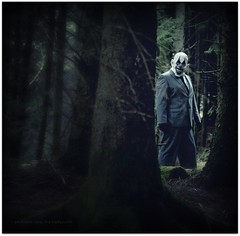I Know Your Deepest Darkest Fears (Samantha Nicol Art Photography) Tags: trees portrait art dark scary woods nikon mask forrest clown creepy suit funeral scared samantha thug phobia coulrophobia nicol