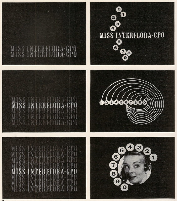 "BBC TV - opening credit graphics for ""Miss INTERFLORA"" - designed by J R Laughton, 1960"