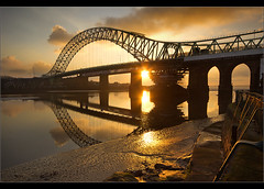 Golden Bridge... (Chrisconphoto) Tags: uk bridge light sunset golden runcorn merseyside widnes goodlight runcornbridge