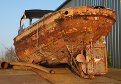 rusty boat (Odlih) Tags: old orange holland dutch boot boat rust ship nederland thenetherlands rusty maritime sail groningen fishingboat oud corrosion oranje eveninglight roest lauwersoog varen avondzon roestig verweerd