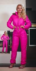 GimpedDG0001 (onesieworld) Tags: pink girls ski sexy bunny one photo shiny gimp manipulation suit blonde piece catsuit snowsuit wintersuit