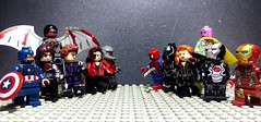 CIVIL WAR (Amazing Lego Productions) Tags: spiderman ironman vision civilwar falcon hawkeye blackwidow captainamerica blackpanther warmachine scarletwitch antman wintersoldier legocustom