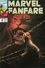 Marvel Fanfare 58 (cover by Joe Chiodo) (FranMoff) Tags: vines lion comicbooks tied bound shanna chiodo shedevil joechiodo junglewomen junglegirls marvelfanfare