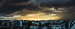 hail and fire (dobromir.dimitrov) Tags: sunset sky panorama sun storm nature rain hail clouds cityscape force dramatic sunny stormy