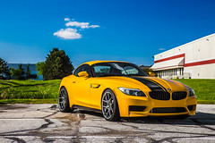 Z4 Spring 2016-1 (A guy called Steve) Tags: 6 black hardtop grass yellow speed canon photography european photographer top hard stripe convertible automotive german bmw manual z4 19 lowered vmr 6speed jb4 6spd v803