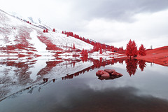 M'IR'oir de Savoie (PLF Photographie) Tags: infrared infrarouge paysage landscape reflexion reflection nature mountain montagne lake lac pines sapins