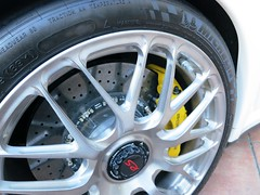 HRE front wheels and PCCB brakes (PorscheConnection) Tags: white black glass leather yellow composite hub ceramic suspension interior tail rear wing full clear porsche brakes lamps nut carbon fiber rs carrara 38 liter carrera gt3 pccb calipers 2011 38l pasm centerlocking