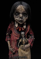 Mummy Art Doll Sculpture  M41 (Shain Erin) Tags: sculpture art mixedmedia ooak fineart tribal artdoll mummy oddity mummydoll worldart shainerin